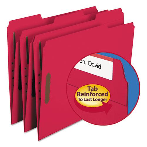 Top Tab Colored 2-Fastener Folders, 1/3-Cut Tabs, Letter Size, Red, 50/Box. Picture 1