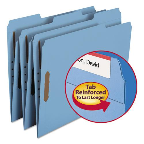 Top Tab Colored 2-Fastener Folders, 1/3-Cut Tabs, Letter Size, Blue, 50/Box. Picture 2