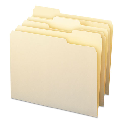 Top Tab File Folders with Antimicrobial Product Protection, 1/3-Cut Tabs, Letter Size, Manila, 100/Box. Picture 2