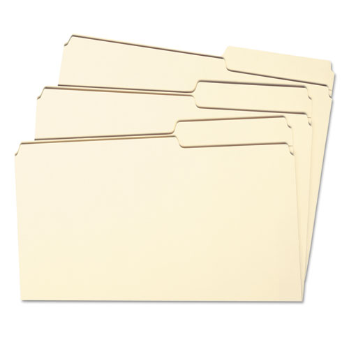 Reinforced Guide Height File Folders, 2/5-Cut Tabs, Right of Center, Letter Size, Manila, 100/Box. Picture 5