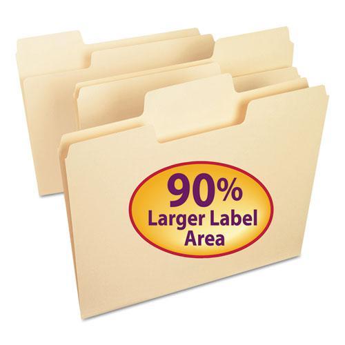 SuperTab Top Tab File Folders, 1/3-Cut Tabs, Letter Size, 11 pt. Manila, 100/Box. Picture 1
