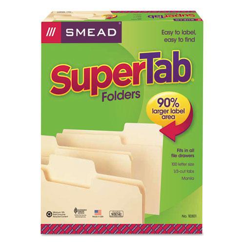 SuperTab Top Tab File Folders, 1/3-Cut Tabs, Letter Size, 11 pt. Manila, 100/Box. Picture 3