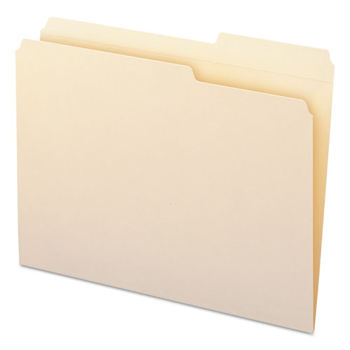 Reinforced Guide Height File Folders, 2/5-Cut Tabs, Right of Center, Letter Size, Manila, 100/Box. Picture 4
