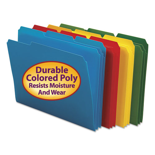 Top Tab Poly Colored File Folders, 1/3-Cut Tabs, Letter Size, Assorted, 24/Box. Picture 1