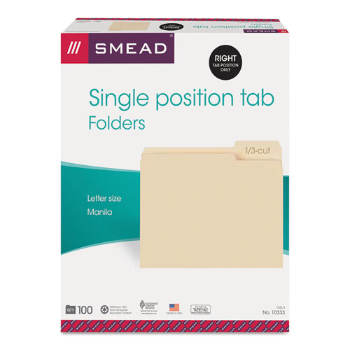 Manila File Folders, 1/3-Cut Tabs, Right Position, Letter Size, 100/Box. Picture 6