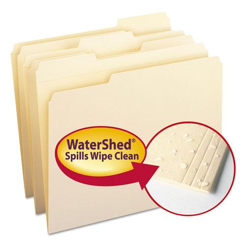 WaterShed Top Tab File Folders, 1/3-Cut Tabs, Letter Size, Manila, 100/Box. Picture 1