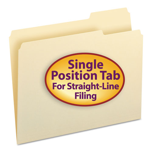 Manila File Folders, 1/3-Cut Tabs, Right Position, Letter Size, 100/Box. Picture 1