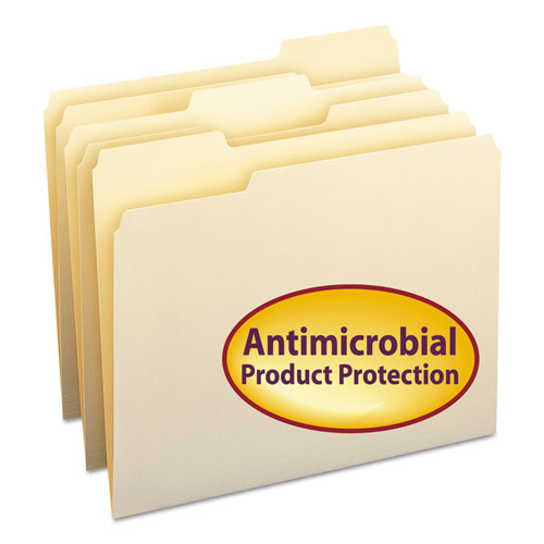 Top Tab File Folders with Antimicrobial Product Protection, 1/3-Cut Tabs, Letter Size, Manila, 100/Box. Picture 1