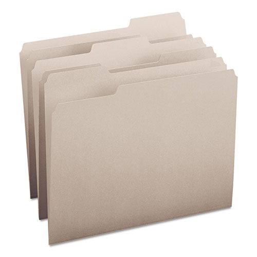 Colored File Folders, 1/3-Cut Tabs, Letter Size, Gray, 100/Box. Picture 1