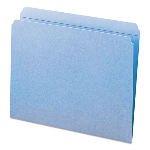 Reinforced Top Tab Colored File Folders, Straight Tab, Letter Size, Blue, 100/Box. Picture 2