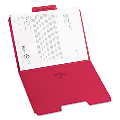 SuperTab Colored File Folders, 1/3-Cut Tabs, Letter Size, 11 pt. Stock, Red, 100/Box. Picture 2