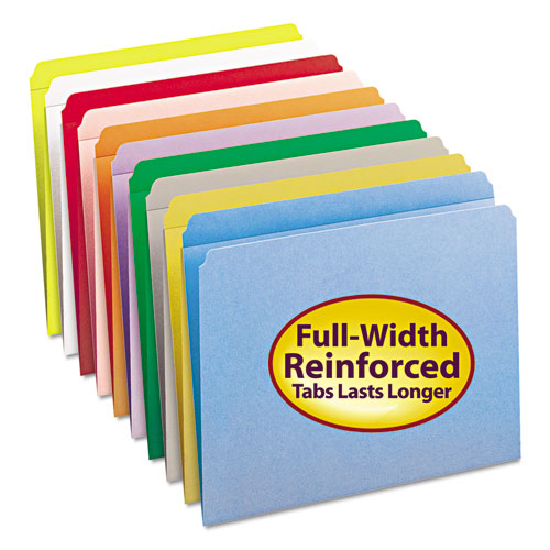 Reinforced Top Tab Colored File Folders, Straight Tab, Letter Size, Red, 100/Box. Picture 3