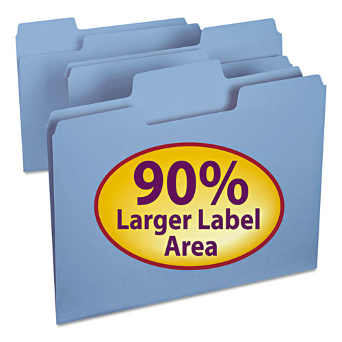 SuperTab Colored File Folders, 1/3-Cut Tabs, Letter Size, 11 pt. Stock, Blue, 100/Box. Picture 1