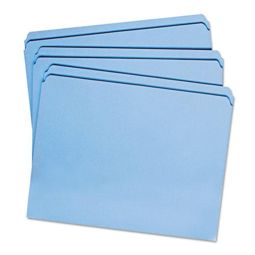 Reinforced Top Tab Colored File Folders, Straight Tab, Letter Size, Blue, 100/Box. Picture 3