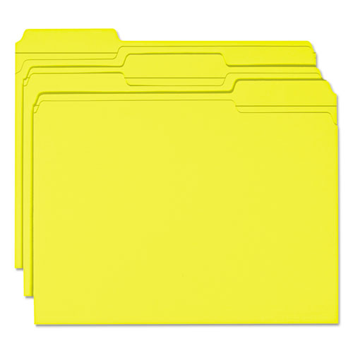 Reinforced Top Tab Colored File Folders, 1/3-Cut Tabs, Letter Size, Yellow, 100/Box. Picture 3