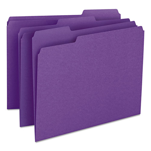 Colored File Folders, 1/3-Cut Tabs, Letter Size, Purple, 100/Box. Picture 1
