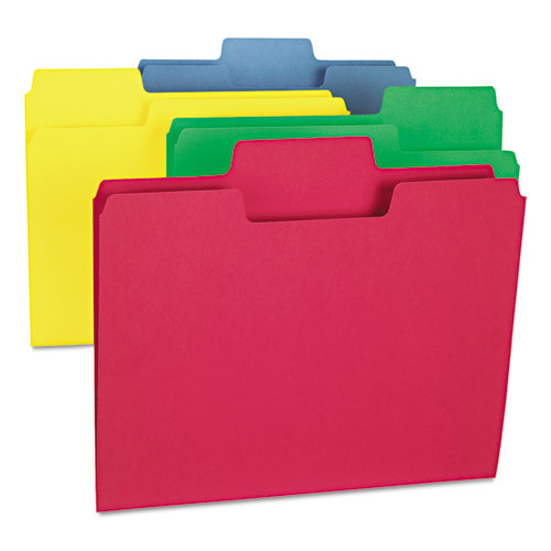 SuperTab Colored File Folders, 1/3-Cut Tabs, Letter Size, 11 pt. Stock, Blue, 100/Box. Picture 2