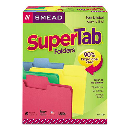 SuperTab Colored File Folders, 1/3-Cut Tabs, Letter Size, 11 pt. Stock, Assorted, 100/Box. Picture 5