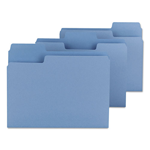 SuperTab Colored File Folders, 1/3-Cut Tabs, Letter Size, 11 pt. Stock, Blue, 100/Box. Picture 3