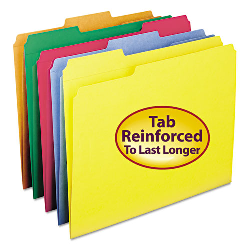 Reinforced Top Tab Colored File Folders, 1/3-Cut Tabs, Letter Size, Blue, 100/Box. Picture 3
