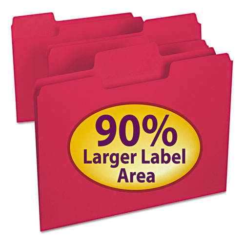 SuperTab Colored File Folders, 1/3-Cut Tabs, Letter Size, 11 pt. Stock, Red, 100/Box. Picture 1