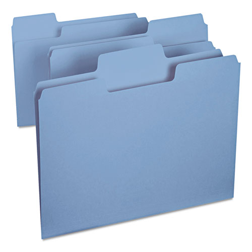 SuperTab Colored File Folders, 1/3-Cut Tabs, Letter Size, 11 pt. Stock, Blue, 100/Box. Picture 4