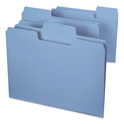 SuperTab Colored File Folders, 1/3-Cut Tabs, Letter Size, 11 pt. Stock, Blue, 100/Box. Picture 6