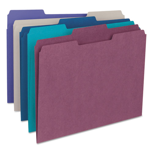 Colored File Folders, 1/3-Cut Tabs, Letter Size, Purple, 100/Box. Picture 2
