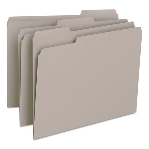 Colored File Folders, 1/3-Cut Tabs, Letter Size, Gray, 100/Box. Picture 3