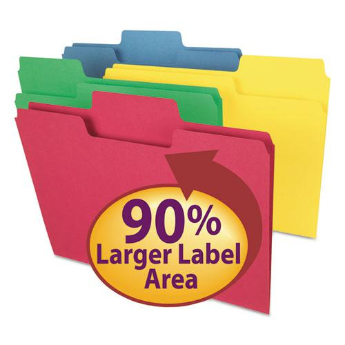 SuperTab Colored File Folders, 1/3-Cut Tabs, Letter Size, 11 pt. Stock, Assorted, 100/Box. Picture 1