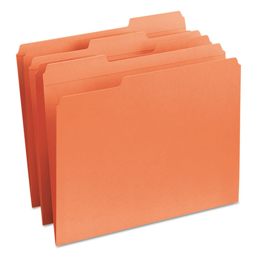 Reinforced Top Tab Colored File Folders, 1/3-Cut Tabs, Letter Size, Orange, 100/Box. Picture 5