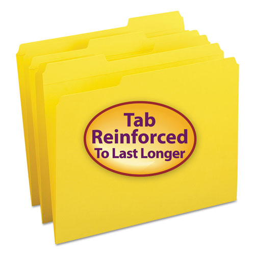 Reinforced Top Tab Colored File Folders, 1/3-Cut Tabs, Letter Size, Yellow, 100/Box. Picture 1