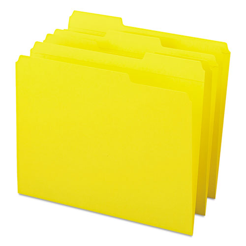 Reinforced Top Tab Colored File Folders, 1/3-Cut Tabs, Letter Size, Yellow, 100/Box. Picture 6