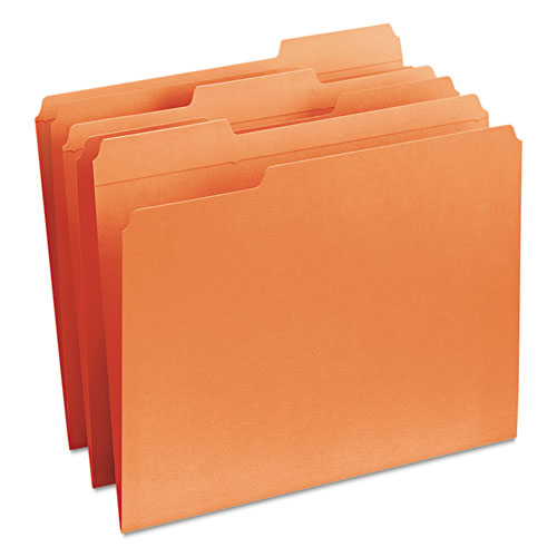 Reinforced Top Tab Colored File Folders, 1/3-Cut Tabs, Letter Size, Orange, 100/Box. Picture 6