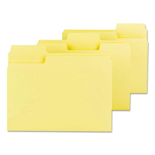 SuperTab Colored File Folders, 1/3-Cut Tabs, Letter Size, 11 pt. Stock, Yellow, 100/Box. Picture 2