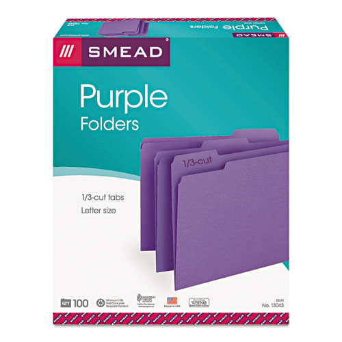 Colored File Folders, 1/3-Cut Tabs, Letter Size, Purple, 100/Box. Picture 4