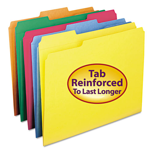 Reinforced Top Tab Colored File Folders, 1/3-Cut Tabs, Letter Size, Yellow, 100/Box. Picture 4