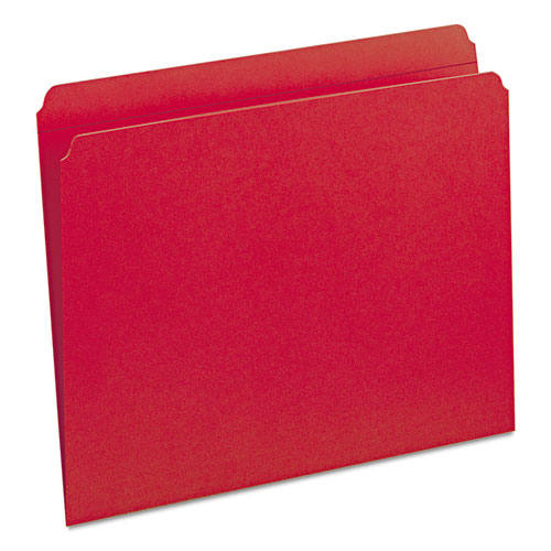 Reinforced Top Tab Colored File Folders, Straight Tab, Letter Size, Red, 100/Box. Picture 5