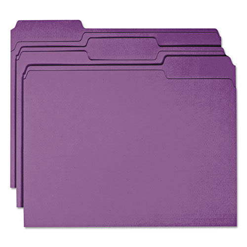 Colored File Folders, 1/3-Cut Tabs, Letter Size, Purple, 100/Box. Picture 6