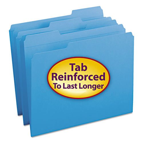 Reinforced Top Tab Colored File Folders, 1/3-Cut Tabs, Letter Size, Blue, 100/Box. Picture 1