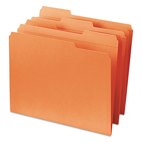 Reinforced Top Tab Colored File Folders, 1/3-Cut Tabs, Letter Size, Orange, 100/Box. Picture 7