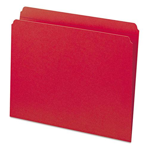 Reinforced Top Tab Colored File Folders, Straight Tab, Letter Size, Red, 100/Box. Picture 7