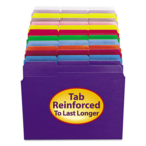 Reinforced Top Tab Colored File Folders, 1/3-Cut Tabs, Letter Size, Lavender, 100/Box. Picture 4