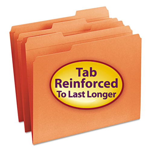 Reinforced Top Tab Colored File Folders, 1/3-Cut Tabs, Letter Size, Orange, 100/Box. Picture 1