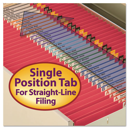 Reinforced Top Tab Colored File Folders, Straight Tab, Letter Size, Red, 100/Box. Picture 8