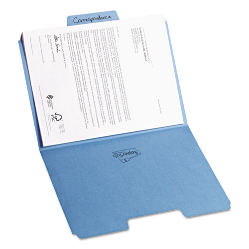 SuperTab Colored File Folders, 1/3-Cut Tabs, Letter Size, 11 pt. Stock, Blue, 100/Box. Picture 9