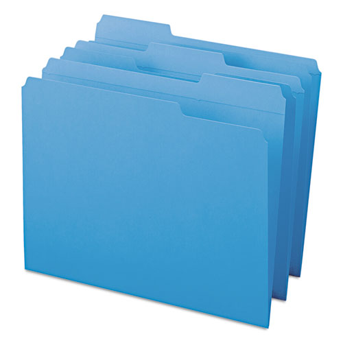 Reinforced Top Tab Colored File Folders, 1/3-Cut Tabs, Letter Size, Blue, 100/Box. Picture 5