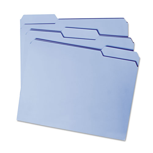 Reinforced Top Tab Colored File Folders, 1/3-Cut Tabs, Letter Size, Blue, 100/Box. Picture 6