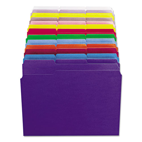 Reinforced Top Tab Colored File Folders, 1/3-Cut Tabs, Letter Size, Blue, 100/Box. Picture 7