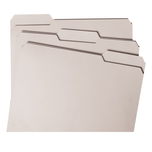 Colored File Folders, 1/3-Cut Tabs, Letter Size, Gray, 100/Box. Picture 5